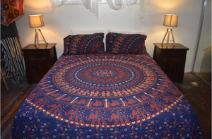Queen Size Sheet & Pillow Case Set - Dark Blue & Red Elephant & Camel Parade