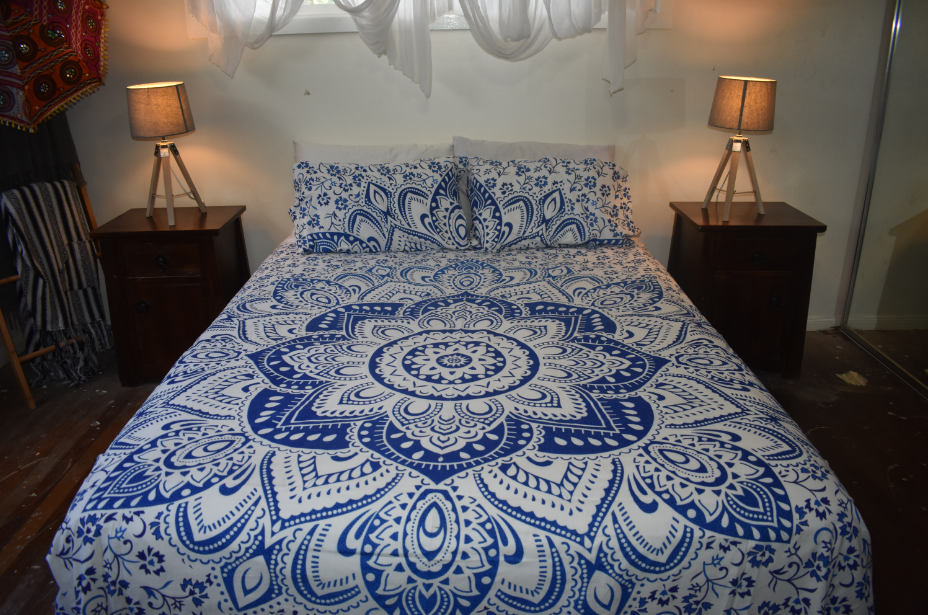 Blue & White Lotus Queen Doona Cover Set