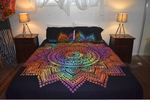 Rainbow Lotus Queen Size Doona Cover Set