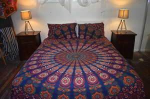 Dark Blue & Orange Peacock Print Queen Size Doona Cover Set
