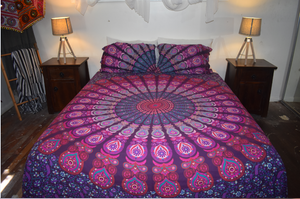 Purple Peacock Queen Size Sheet Set.
