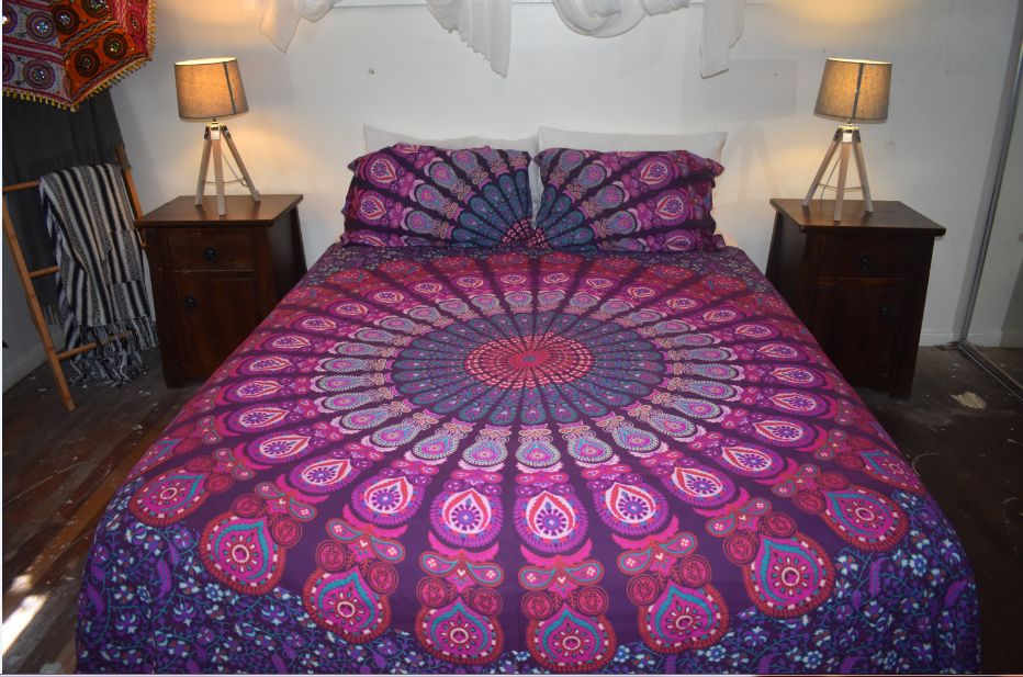 Purple Peacock Print King Size Doona Cover Set