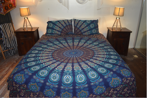 Dark Blue & Turquoise Queen Size Sheet & Pillow Case Set