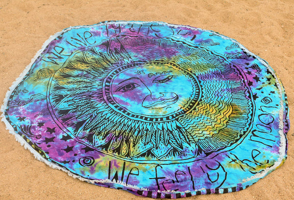We live by the sun, we feel by the moon roundie with fringe