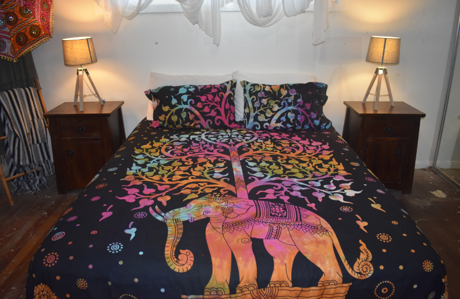 Queen Size Sheet & Pillow Case set - Rainbow Elephant Tree of Life