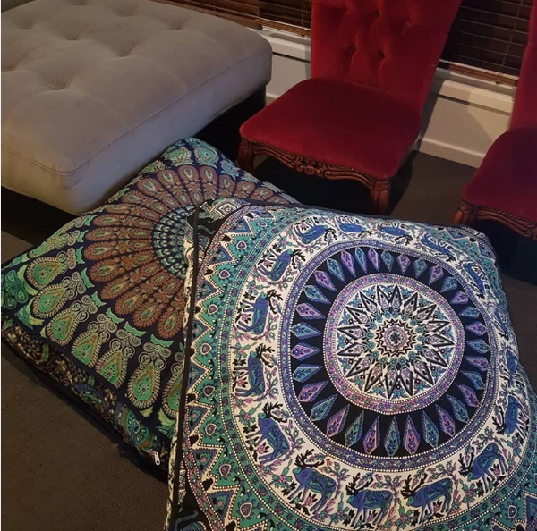 Large Square Floor Cushion - Dark Blue & Turquoise Peacock