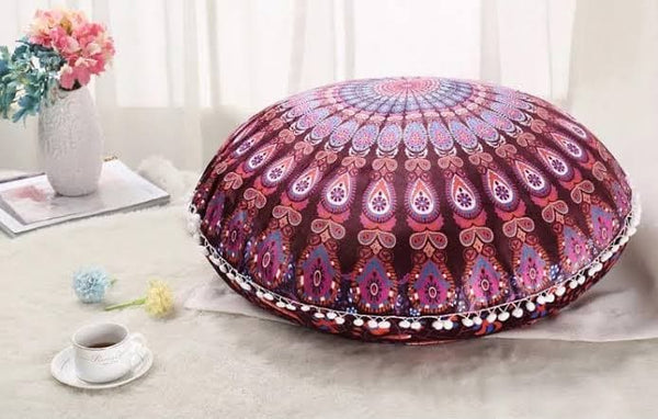 Round Floor Cushion - Purple Peacock