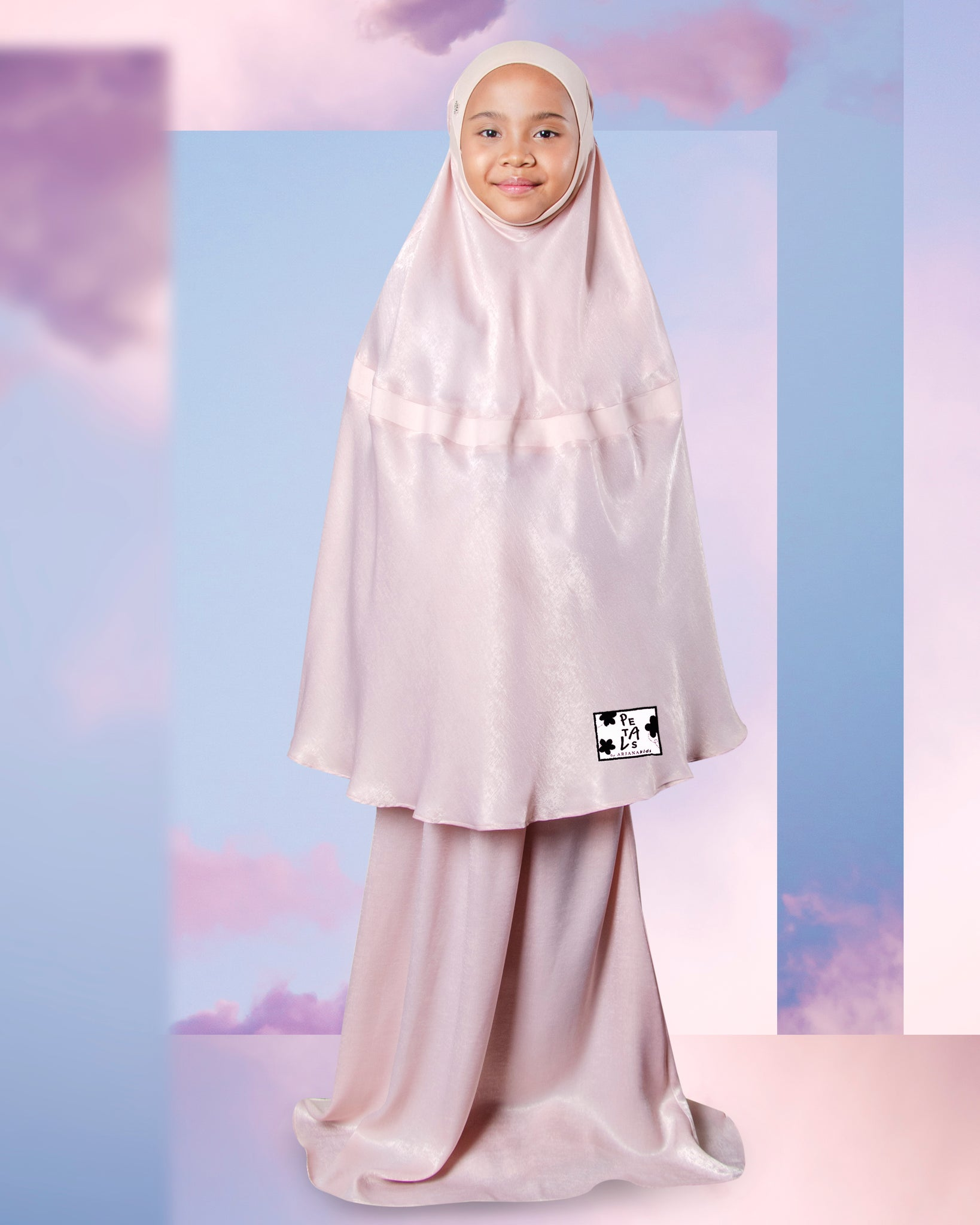 Telekung ARJANA Blossoms in Rose Gold (for kids)