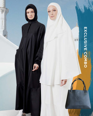 HAJJ 2019 Combo : ARJANA Iris Dress in Black with ARJANA Calla Mini Telekung in White & FREE Telekung Bag