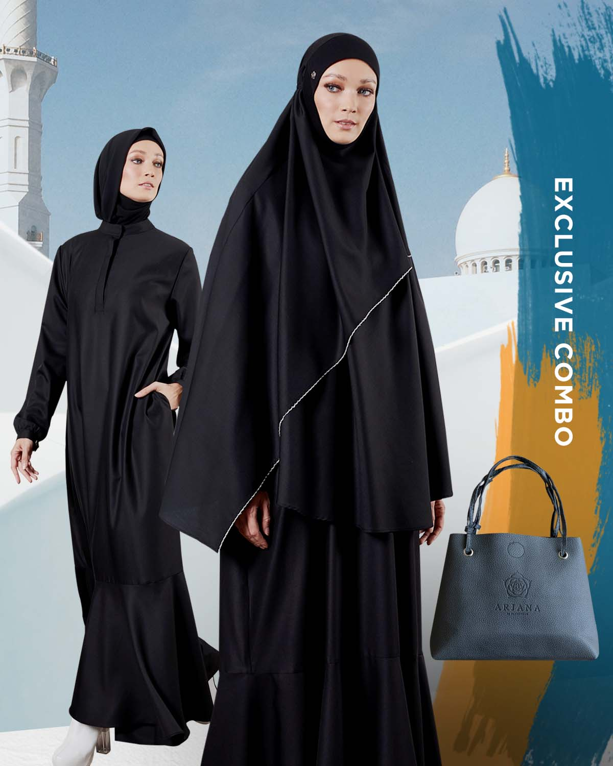 HAJJ 2019 Combo : ARJANA Iris Dress in Black with ARJANA Calla Mini Telekung in Black & FREE Telekung Bag