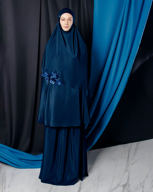 PRE-ORDER : Telekung ARJANA Raudhah in Navy Blue with Swarovski