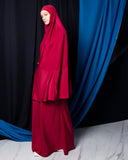Telekung ARJANA Raudhah in Ruby Red with Swarovski