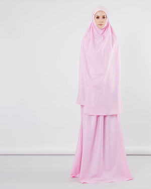 Telekung ARJANA Tulip Cotton with Swarovski - Blush Pink