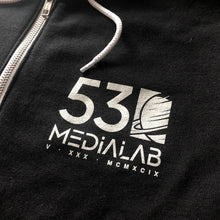 Load image into Gallery viewer, 530medialab Space Force I Zip Front Hoodie in Black - Front logo view