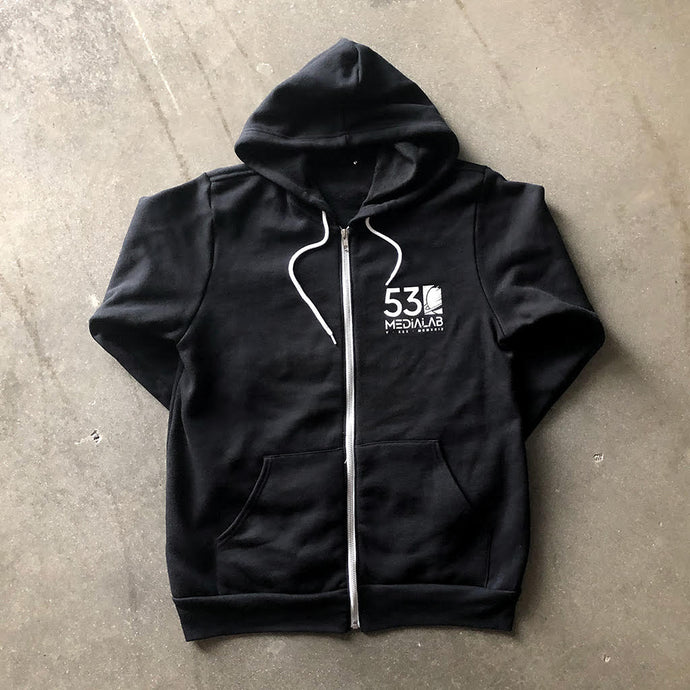 530medialab Space Force I Zip Front Hoodie in Black