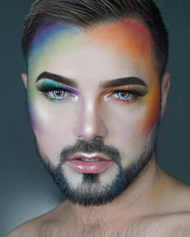 Joshua is rocking it with our famous vegan lashes, with a beautiful Rainbow contour!