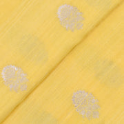 Buttermilk Yellow  Silver Zari Floral Raw Silk Fabric