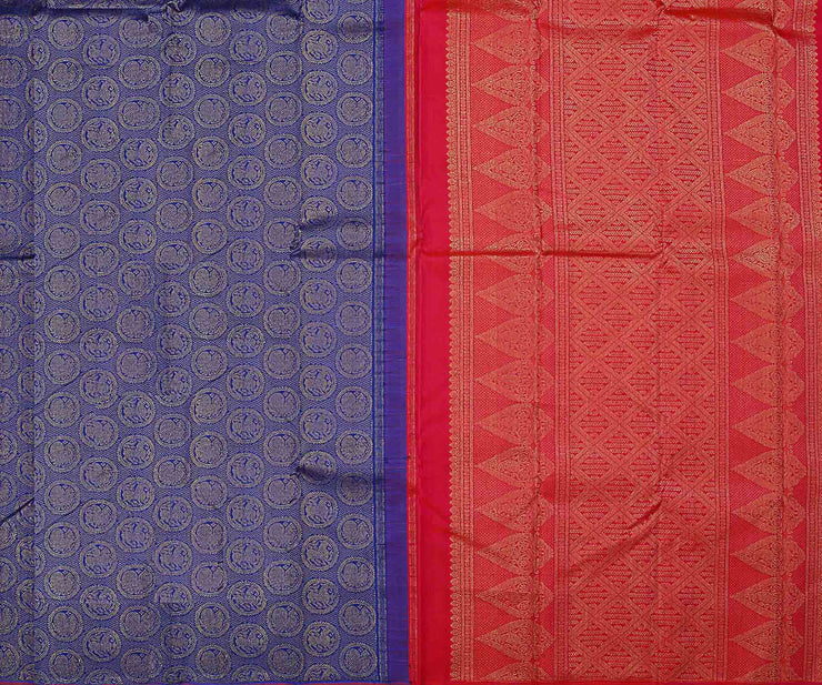 Blue And Pink Kanchi Silk Saree With Zari Buttas