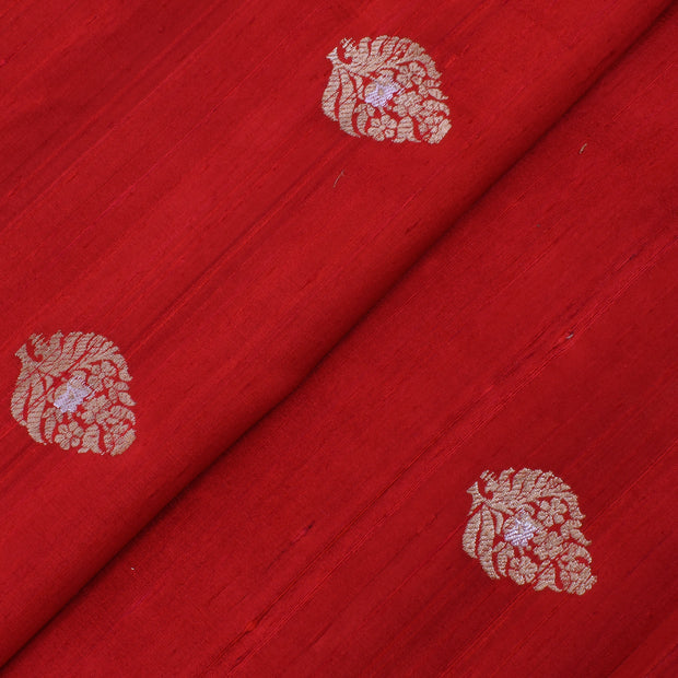 Red Gold And Silver Zari Floral Raw Silk Fabric