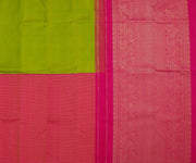 Green And Pink Half And Half Kanchi Silk Saree With Grand Pallu