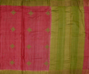 Pink Tussar Silk Saree with Green Border and Pallu Crafted with Kollam Embroidery