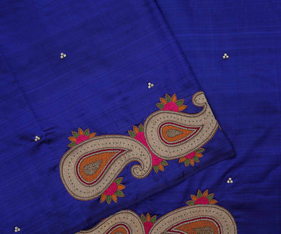 Ms Blue Kanchi Silk Saree Crafted with Mango Embroidery