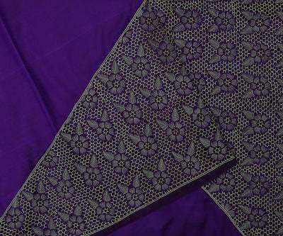 Purple Kanchi Silk Saree Crafted With Honey Comb Cut Work In Partly And Pallu