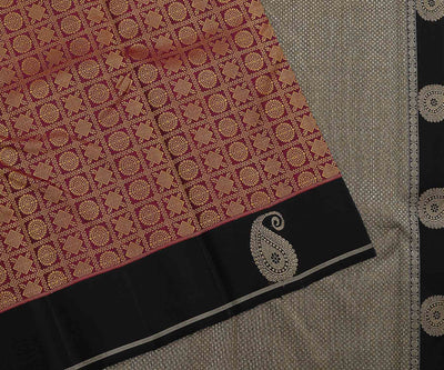 Purple Kanchi Silk Saree With Thread Buttas,Black Pallu And Border With Mango Zari Buttas
