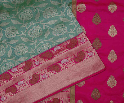 Pastel Green and Pink Banarasi Silk Saree