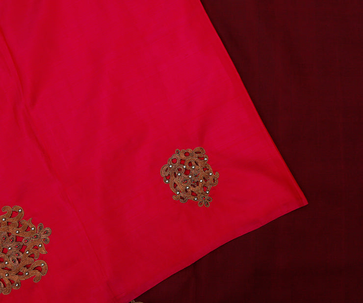 Pink Kanchi Silk Saree With Coffee Brown Pallu Crafted With Zari Load Embroidery