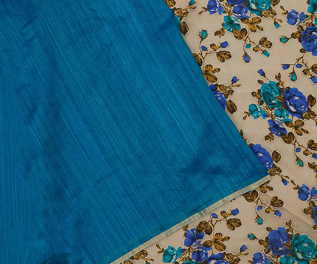 Blue Mutak Silk and Floral Printed Tussar,Half and Half Saree