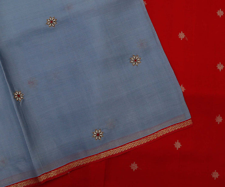 Grey Kanchi Organza Saree Crafted with Pearl Embrodiery and Red Kanchi Silk Pallu with Zari Buttas