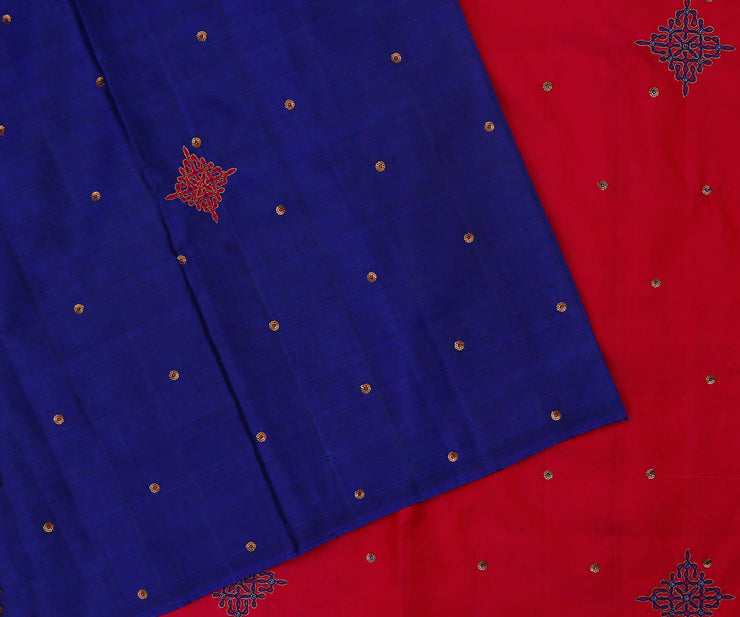 Ms Blue Kanchi Silk Saree with Pink Pallu Crafted with Kolam and Sequence Embrodiery