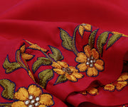 Pink Kanchi Silk Saree Crafted With Floral Thread Embroidery