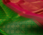 Green Korvai Kanchi Silk Saree With Red Grand Border And Pallu