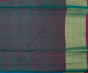 Blue Kanchi Silk Saree With Thread Buttas,Black Pallu With Zari Buttas And Green Border