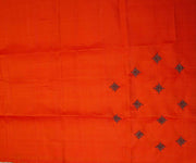 Coffee Brown Kanchi Silk Saree with Orange Pallu Crafted with Hand Embroidery Buttas