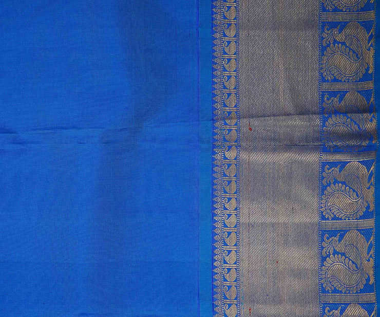 Onion Pink Korvai Kanchi Silk Saree With Blue Grand Border And Pallu