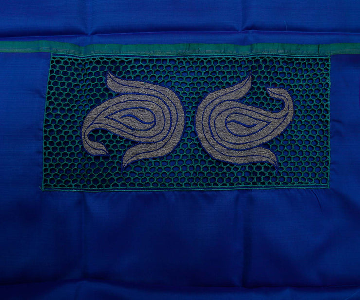 Rexona Blue with Royal Blue Kanchi Silk Saree Crafted with Honey Comb Cutwork and Tissue Applique