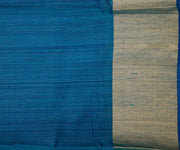 Half White and Blue Tussar Half and Half Saree