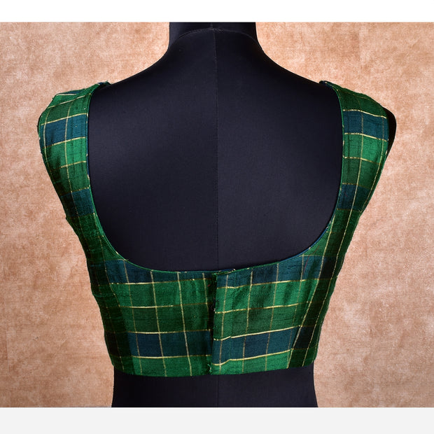 Green Checked Tussar Ready Made Blouse