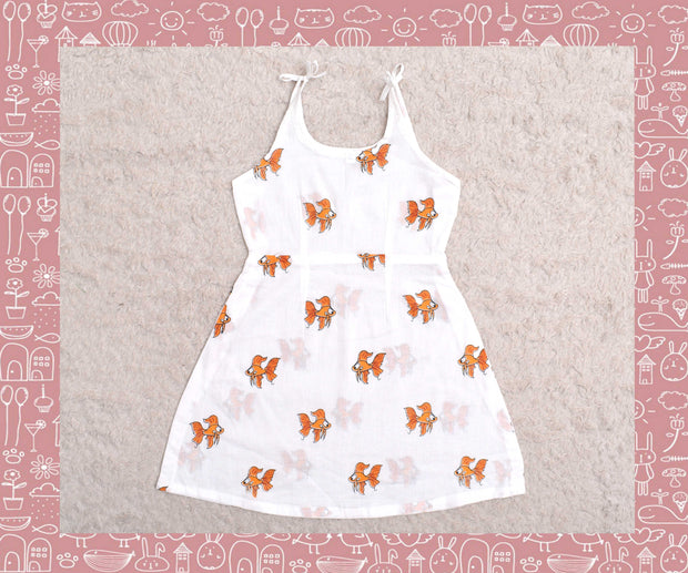 Bhagirathi - White With Orange Fish Printed Frock (3yrs)