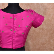 Pink  Zig Zag Zari Design Kanchi Silk Ready Made Blouse with Embroidery