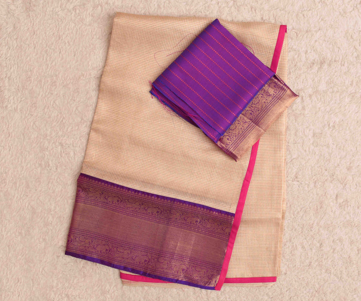 Half White Checked Tussar Saree With Purple Kanchi Silk Blouse And Long Border