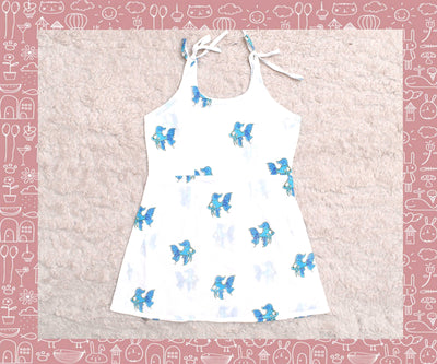Bhagirathi - White With Blue Fish Printed Frock (1yr)