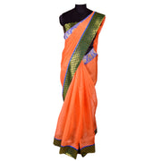 Dark Peach Bailu Saree With Banarasi And Kanchipuram Border - With Blouse