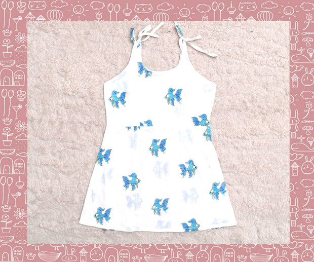 Bhagirathi - White With Blue Fish Printed Frock