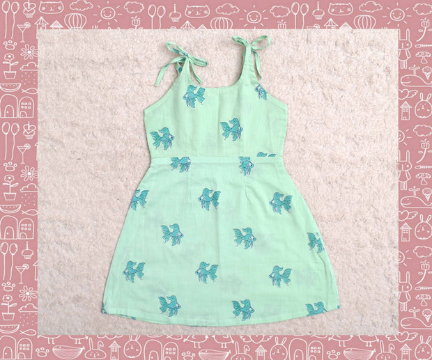 Bhagirathi - Sky Blue With Blue Fish Printed Frock (3yrs)