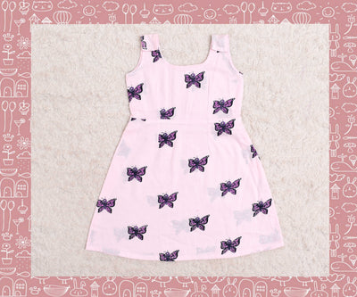 Indravati - Rose With Purple Butterfly Printed Frock