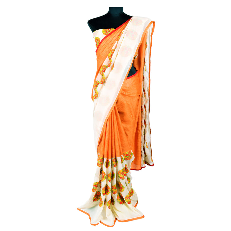 Tangerine Self Checked Tussar And Off White Embroidered Georgette , Half And Half Saree - With Blouse